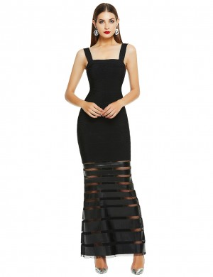 Form-Fitting Black Square Neck Bandage Dress Leather Patchwork