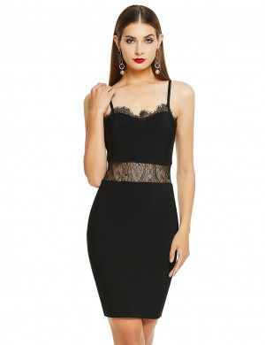 Close Fitting Black Adjustable Straps Lace Bandage Dress Fashion