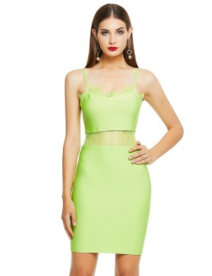 Light Green Lace Patchwork Bandage Dress Open Back Outdoor Activity