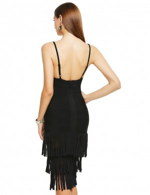 Black Tiered Tassel V-Neck Low Back Bandage Dress Outdoor Activity