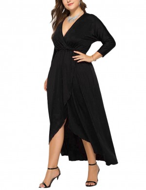 Classy Black Plus Size Side Slit Deep-V Neck Dress All-Match Fashion