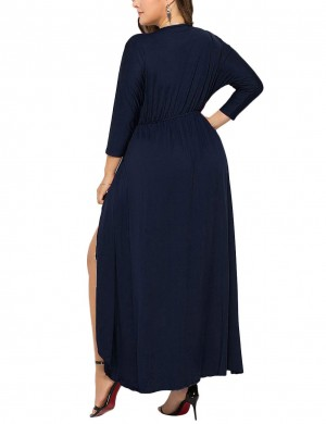 Flirting Dark Blue High-Low Hem Shirred Queen Size Dress Outdoor
