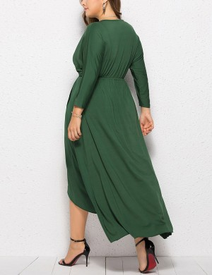 Glorious Dark Green Plunge Collar Big Size Plain Dress Ultra Cheap