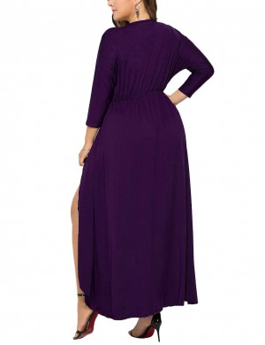 Contouring Purple Long Sleeves Large Size Ruched Dress For Woman