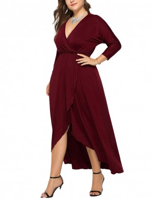 Soft Wine Red Ruched Plunge Collar Large Size Dress Fashion Ideas