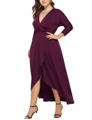 Excellent Fuchsia Deep-V Neck High-Low Large Size Dress For Upscale