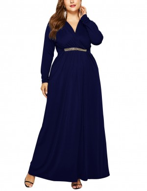 Dark Blue Self-Tie Belt Queen Size Ruched Dress For Hanging Out