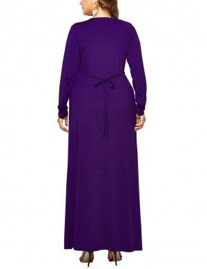 Close Fitting Purple Plus Size Waist Tie Plain Dress Slim