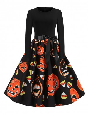 Smoothing Skater Dress Pumpkin Paint Waist Sash Superior Quality