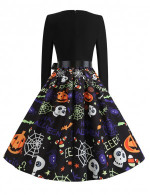 Retro Crew Neck Skater Dress Pumpkin Paint Superior Comfort