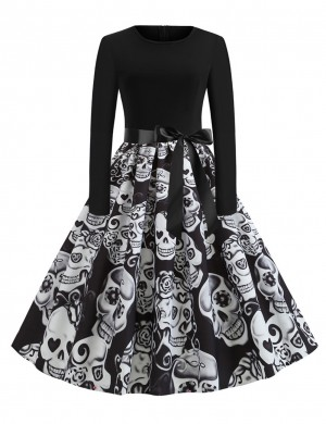 Good-Looking Skater Dress Skull Print Tie Fleated Hem Elastic