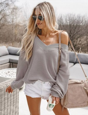 Unforgettable Khaki Solid Color Knit Sweater Full Length Chic Fashion