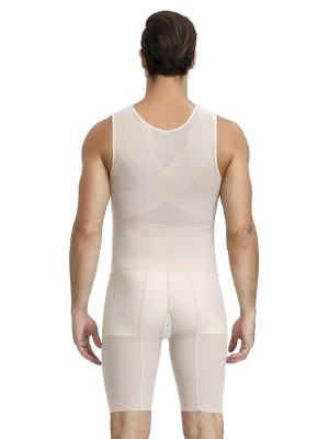 Skin Solid Color Large Size Men's Shaper Criss Cross Curve Smoothing