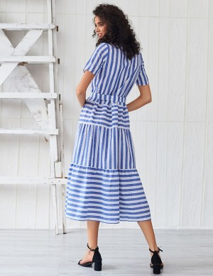 Luscious Light Blue Stripe Patchwork Shirt Collar Maxi Dress Stretchy