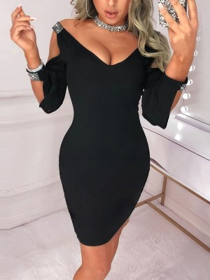 Casually Black Bodycon Dress Plunge-V Solid Color Modern Fashion