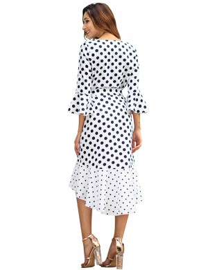 Adorable White V-Collar Trumpet Sleeve Summer Dress Loose Fit
