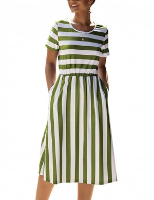 Elaborate Army Green Side Pocket Summer Dress Stripe Painting