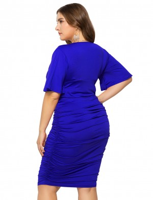 Breathable Blue Solid Color Short Sleeve Large Size Dress