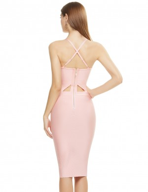 Pink Women Plus Size High Waist Lace Bandage Dress deminine Fashion