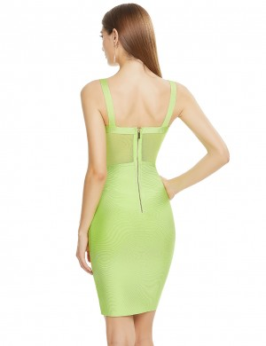 Green Mesh Patchwork Sling Backless Bandage Dress