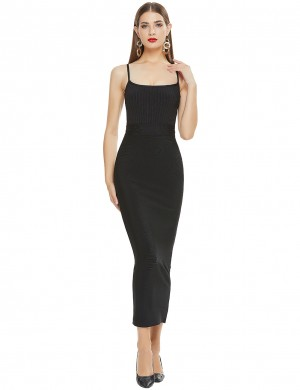 Long Elegant Black Bandage Dress Thin Strap Style Wity Zipper On Back Romance