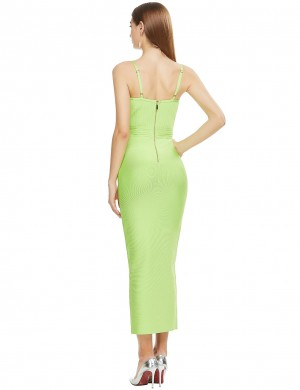 Slim Fit Long Elegant Green Bandage Dress With Adjustable Strap Fashion Online