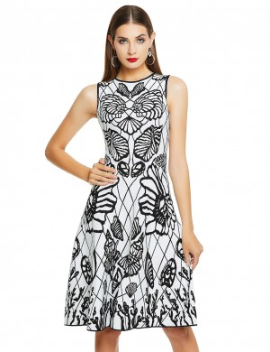 Maiden Black And White Round Neck Charming Temperament Dress