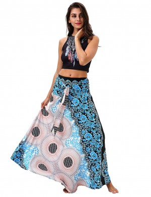Feminine Retro Blue Circle Two Ways Wearing Swing Skirt Natural Fit