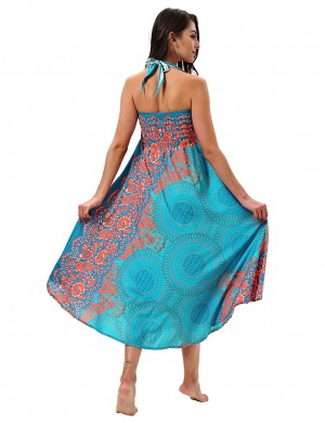 Elaborate Floral Retro Blue Circle Two Ways Wearing Swing Max Dress Soft