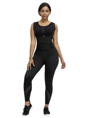 Natural Shaping Black Neoprene Cami Shaper Solid Color Double Waist Tummy Training