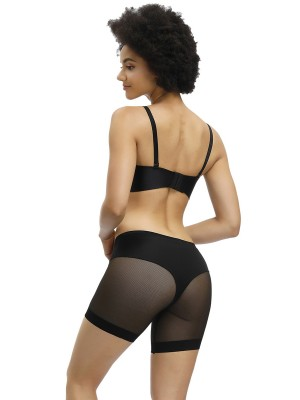 High-Compression Black Sheer Mesh Mid-Waist Butt Enhancer Hidden Curves