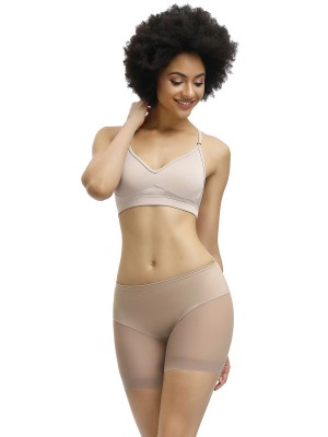 Two-Timing Apricot Butt Lifter Sheer Mesh Mid-Rise Panty Body Shapewear