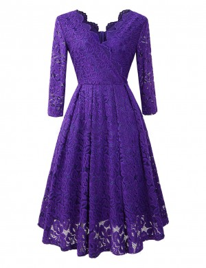 Soft Purple Lace V Neck Hollow Out Midi Dress Weekend Time