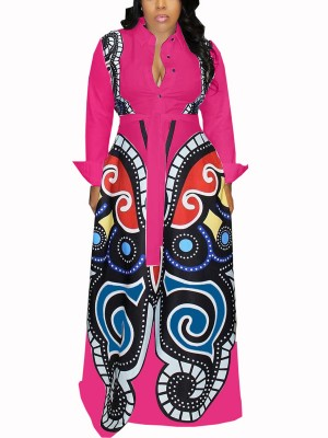 Creative Red Stand-Up Collar African Paint Maxi Dress Stretchy