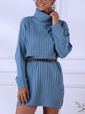 Glam Blue High Neck Knit Sweater Dress Plain Stretch