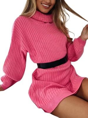 Lively Pink Long Sleeve Knit Sweater Dress Plain Comfort Devotion