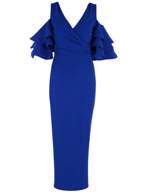 Daring Blue Deep V-Neck Layered Sleeves Bandage Dress Elegance