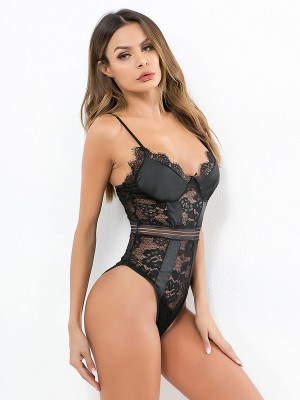 Feminine Black Adjustable Straps Lace Mesh Teddy Cheap Wholesale