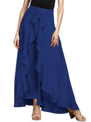 Slim Fit Blue Bow Knot Skirt High Rise High-Low Hem Womenswear