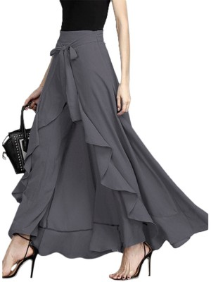 Affordable Gray High Waist Skirt Maxi Length Tie Honeymoon