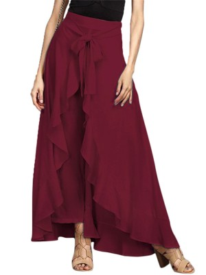 Retro Wine Red Solid Color Skirt Tie Maxi Length Outfits