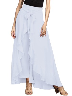 Uniquely White Ruffle Hem Solid Color Full Length Skirt Form Fitting