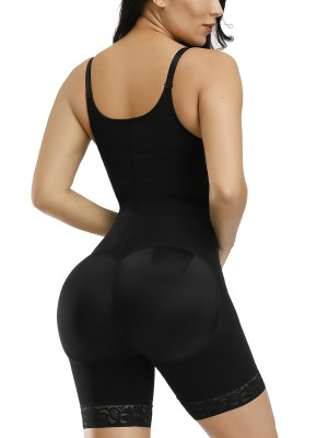 Strengthen Black 3 Layers Adjustable Strap Full Body Shaper Chic Online