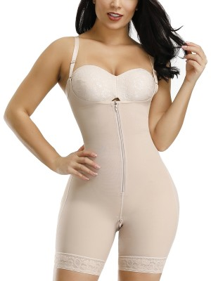 Super Trendy Skin Color Full Body Shaper Zipper Lace Trim Hooks Fat Burner