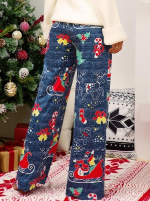 Glamorous Blue Christmas Printed Wide Leg Pants Stretch