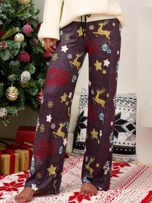 Premium Dark Gray Contrast Color Christmas Print Pants