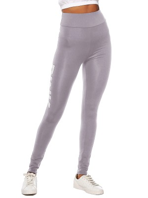 Exquisite Gray High Waist Full Length Letter Leggings For Work