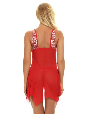 Dainty Red Christmas Pure Mesh Babydoll Lace Trim Fashion Design