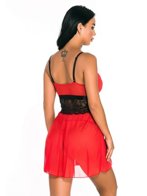 Convertible Red Lace Patchwork Xmas Babydoll Deep V Neck Midnight