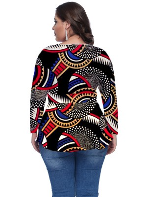 Cool African Print Plus Size Shirt V Neck For Upscale